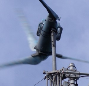 GB3WB wind turbine tail pivot spring in action