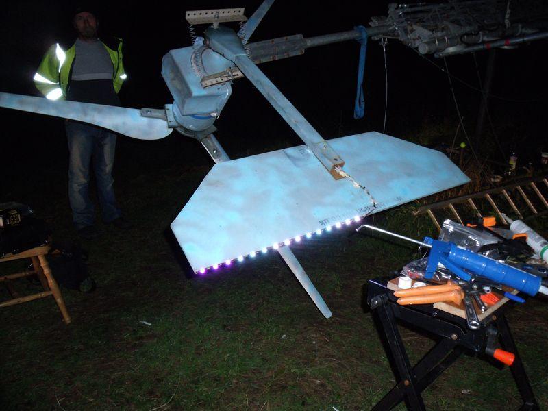 GB3WB wind turbine tail slip-ring test LEDs