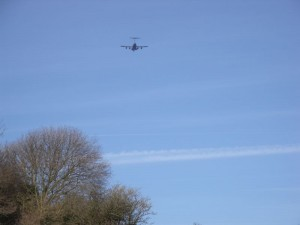 Globemaster C-17 flys low over the GB3WB site
