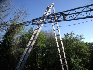 GB3WB tower with ladder A frame in position (GB3WB Tower Destroyed In High Winds)