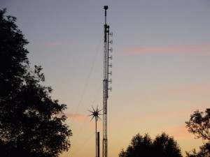 GB7WB Repeater Mast at Sunset before the small turbine was removed