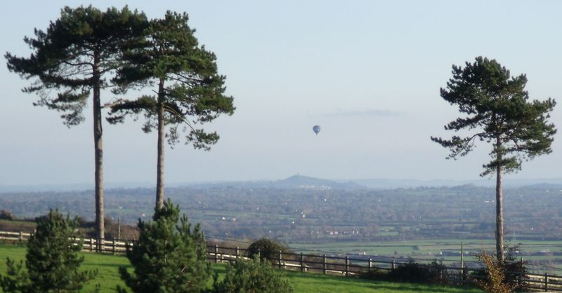 Hot Air Balloon Passes GB7WB In Front Of Glastonbury Tor