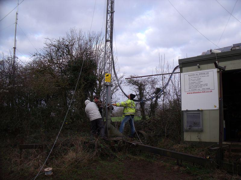 Team raising GB7WB tower 14 Jan 2012