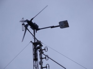Wind turbine furling next to GB3WE's VHF folded dipole