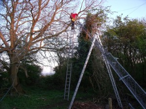 GB3WB Mast supported by ladder A frame